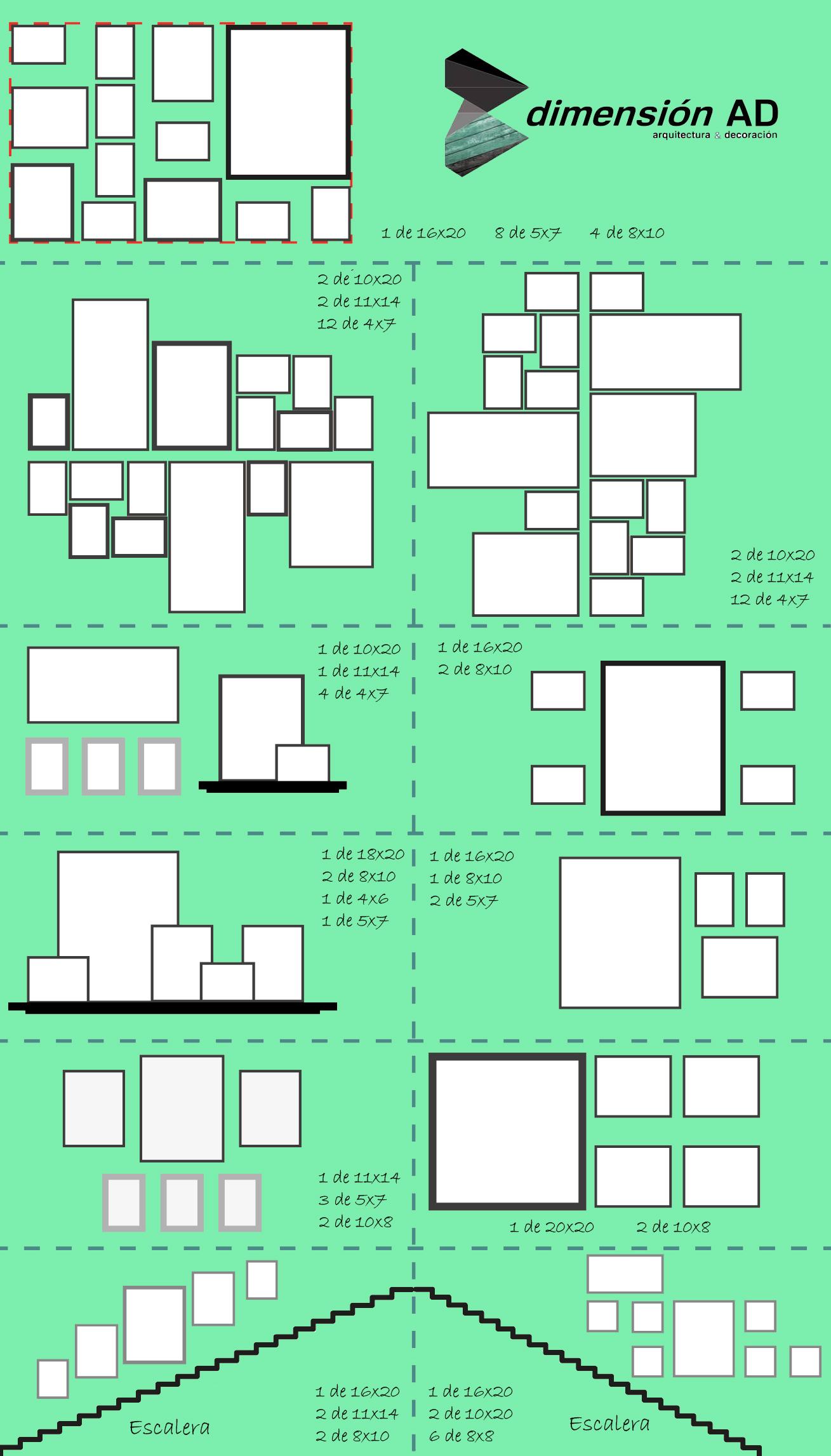 Composici n cuadros y fotos dimensionad arquitectura for Cuadros de pared grandes